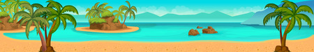 beach panorama: Sea panorama. Tropical beach. Vector background for your application , project Illustration