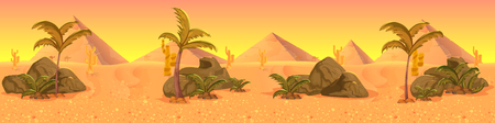 Wild West desert landscape panorama . Cactus and nature, vector background for your application , project