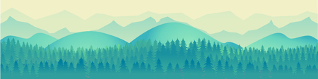 alone in the dark: Panorama of mountain ridges with forest in the foreground. Vector Illustration for your application , project.Landscape. Horizon. Illustration