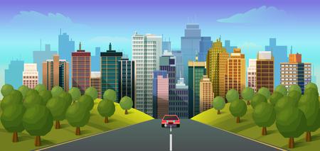 Droga przez wieś do miasta Ilustracja wektorowa dla aplikacji, projektu.