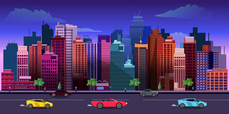 night lights: city game background 2d game application