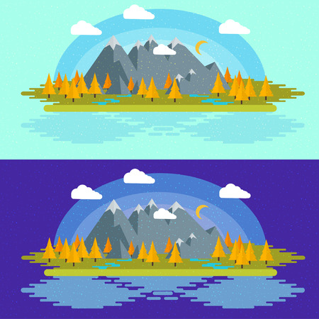 Autumn Flat design nature landscape illustration with sun, hills and clouds,for your application , project Illustration