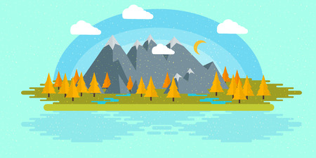 Flat design nature landscape illustration with sun, hills and clouds,for your application , project