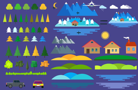 landscape architecture: Landscape constructor icons set. Buildings houses, trees and architecture signs for map, game, texture, mountains, river, sun.