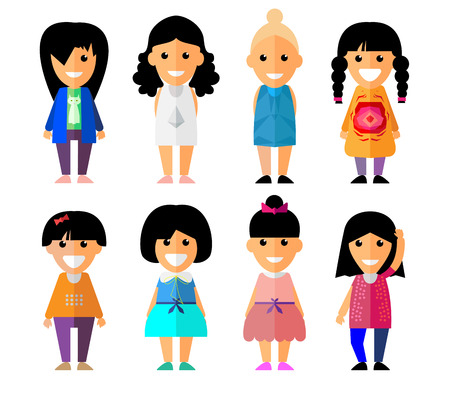 set of smiling characters in cartoon style