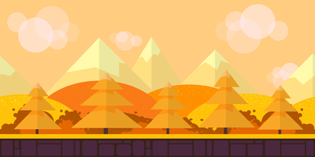browsers: Game Seamless Horizontal Forest Background for side scrolling 2D games, action, adventure, hack and slash for PC computers, mobile apps and browsers Illustration