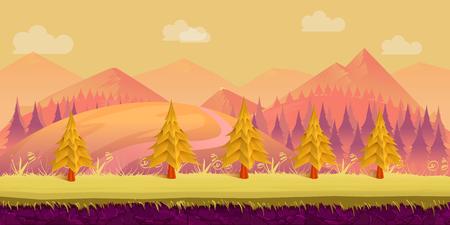 Seamless cartoon nature landscape Illustration