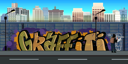 Graffiti wall background, urban art, vector nature background for games.Vector Illustration for your application , project. Stock Illustratie