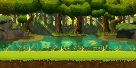 ゲーム デザイン .2d ゲーム アプリケーションの分離層とベクトル、自然の背景を終わることのない、シームレスな春森林風景。あなたのアプリケー