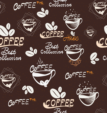 Hand Drawning coffee seamless pattern, illustration vectorielle pour votre application, projet