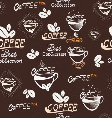 Modello senza cuciture del caffè di Drawning di vettore, illustrazione per la vostra applicazione, progetto di vettore