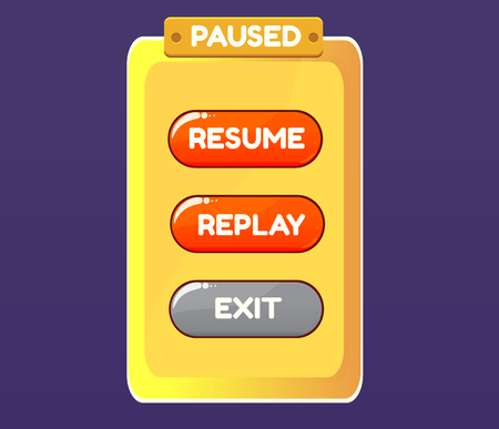 graphical: Game pause. Vector graphical user interface UI GUI for 2d video games. Vector illustration for your design Illustration