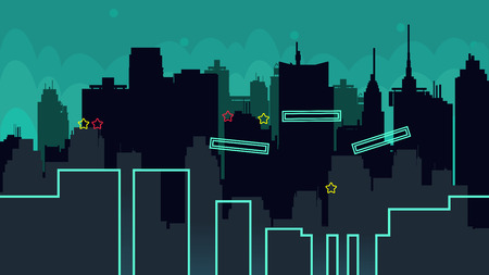 megapolis: Seamless cartoon night city landscape, vector unending background with road, buildings and sky layers