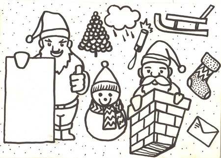 hand-drawn sketchy Merry Christmas funny doodle set with holidays sings and symbols. Stock Photo