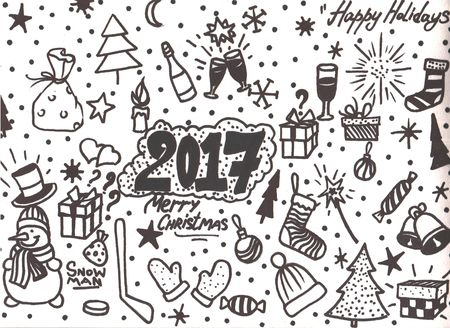 Doodle Christmas background Hand drawn illustration for your design.