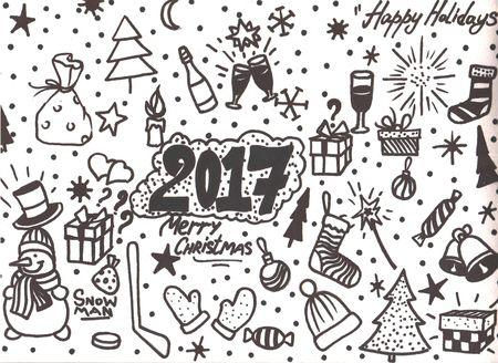 lightsdrawing: Doodle Christmas background Hand drawn illustration for your design.