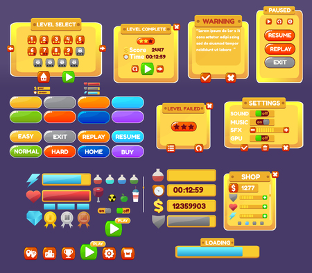 panels: The elements of the game interface. game menu, level interface ,panels ,ui ,buttons Illustration