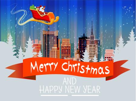 Santa Claus Sleigh Reindeer Fly Sky over City Skyscraper Night View Cityscape Snow Skyline Christmas New Year Card Vector Illustration