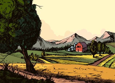 hay field: Vintage organic farm, Countryside landscape with hay, field and village. concept for any design