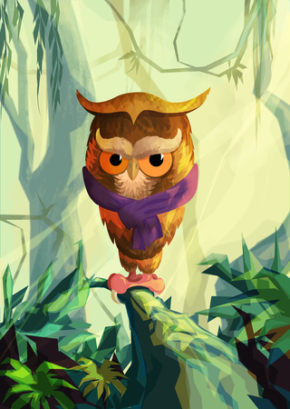 oddity: stylized owl painted on the background of forest for your application , project Stock Photo