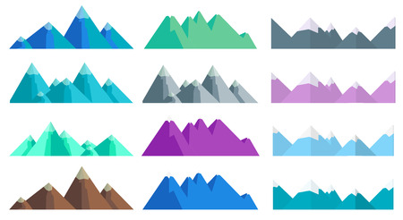 Cartoon hills and mountains set, isolated landscape elements for web or game design