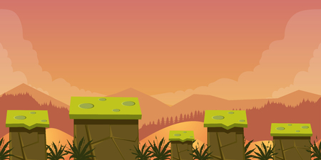 platforms: Mobile App Game Assets Background Classic Platformer ,nature landscape with different platforms and separated layers for games.