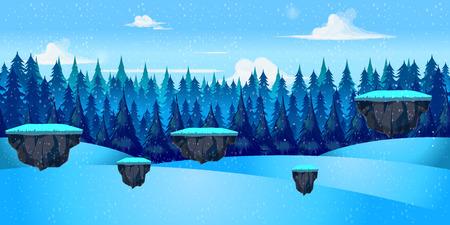 winter landscape for game, Vector illustration with separate layers. Vector illustration for your design