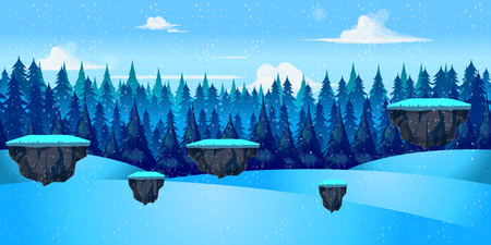 scroller: winter landscape for game, Vector illustration with separate layers. Vector illustration for your design