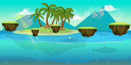 Background for games apps or mobile development. Cartoon nature landscape with sea or ocean and palms. Vector illustration for design graphics print or book . Stock illustration. Illustration