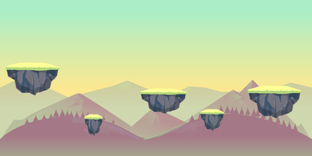 scroller: seamless nature landscape for game, Vector illustration with separate layers Illustration
