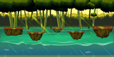 Seamless cartoon nature landscape with different platforms and separated layers for games Illustration