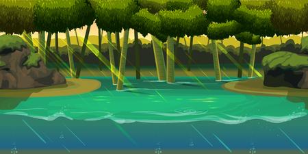 Underwater background Landscape with jungle . For web mobile phone,print, game design .Vector illustration for your design Illustration