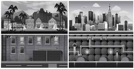 old new york: Set of black and white panorama cities. Vector illustration for games. canalization, town, street