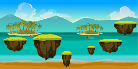 Sea game background with islands and underwater life. Vector illustration for your design
