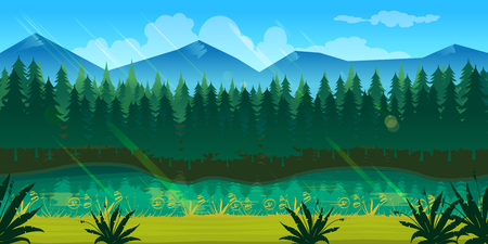 never ending: spring forest landscape, never ending nature background with separated layers for game design .2d game application. Illustration for your application , project.