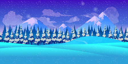 Mountain seamless background illustration for mobile app, web, game with snow and ice. template Imagens