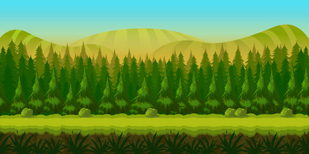Seamless fantasy landscape, game background with separated layers for parallax effect. illustration for your design