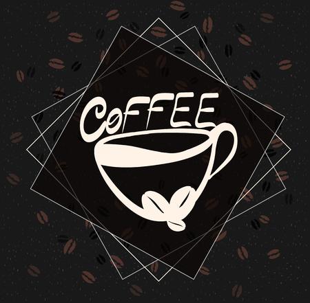 Bella mano disegnata illustrazione grafica moda: tazza di caffè. Illustrazione raster per la tua applicazione, progetto Vettoriali