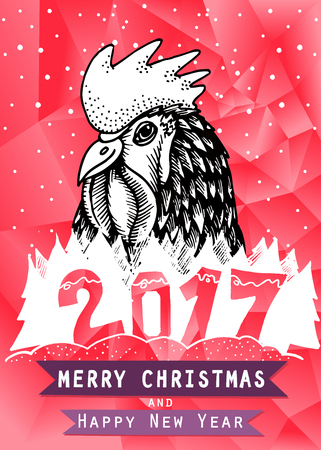 Rooster Year design. for wallpaper, banner, poster, fabric, gift wrap greeting or invitation card