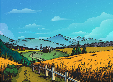 Rural landscape in graphical style, Hand drawn and converted to vector Illustration. Illustration