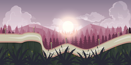 Morning landscape, never ending nature landscape with separated layers for game design.