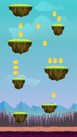 Jump Game User Interface Design For Tablet  Illustration of a funny spring graphic game ui background, in cartoon style with basic buttons Stock Photo