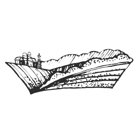 Hand drawn illustration of farmhouse and hills