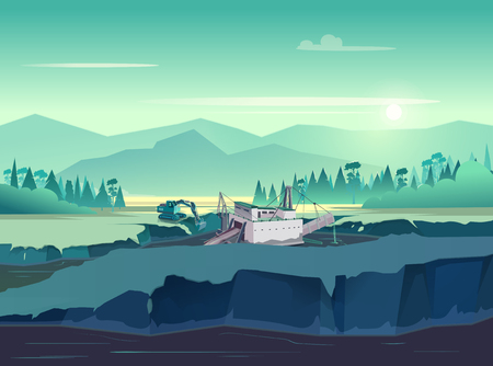 Gold mining vintage illustration. Wild nature at sunset vector illustration for your application.