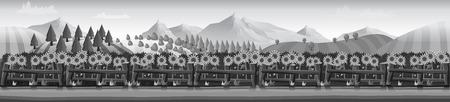 Horizontal vector banner silhouettes of grazing farm Illustration