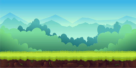 Mountains Landscape For Ui Game, vector unending background with separated layers for game. Illustration