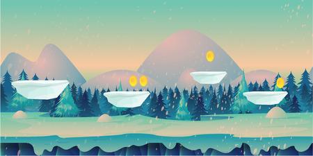 Cartoon nature winter landscape. Çizim