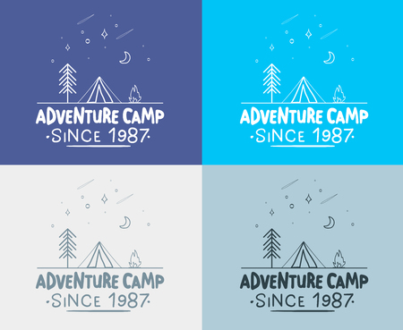 Trendy Camping Label. hand drawn t shirt Print. Typographic Design. vector illustration for you design. Vettoriali