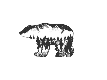 Illustration with bear, pine forest and mountains inside. Wild label with animal