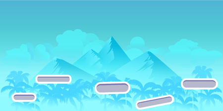 Seamless cartoon nature landscape with different platforms and separated layers for games.Ready for parallax effect